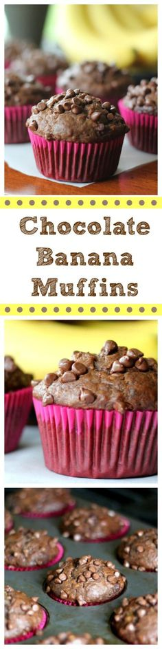 Ok, drum rollllllll please! I love Banana nut bread in general, but these Chocolate Banana Muffins are the 'hot-diggity bomb'. Banana bread with a 'twist' being the muffins are ch. Dessert Simple, Vegetarian Chocolate, Chocolate Recipes, Baking Chocolate, Chocolate Banana Muffins, Banana Bread, Banana Nut, Fun Desserts, Dessert Recipes