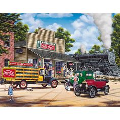 Coca Cola All Aboard 1000 Piece Puzzle: Back in the day! The old steam engine passes by the general store as we step back in time to enjoy this scene of friends and family going about the hustle and bustle of their day while an American icon, Coca Cola, forms the background to it all. Artwork by Jim Harrison.  $17.99  http://www.calendars.com/Vintage-Food-Advertising/Coca-Cola-All-Aboard-1000-Piece-Puzzle/prod201200011447/?categoryId=cat00127=cat00127#