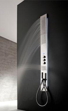 Obliqua, ultra-thin thermostatic shower column by Zazzeri Minimal Bathroom, Modern Bathroom, Bathroom Ideas, Interior Architecture, Interior Design, Shower Panels, Relax, Sustainable Design, Minimalist Design