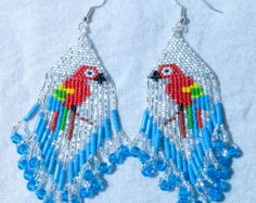 Brick stitched Peacocks size 15* seed beads #0132