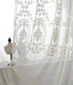 """A Pair of White Sheer Curtains Made to Order Upto 104""""L. Embroidered Ivory / Cream Color Damask Floral Pattern On Off White Sheer Fabric."""
