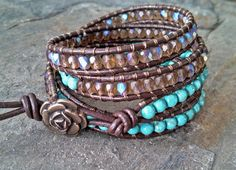 Bohostyle Turquoise Crystal & Leather MultiWrap by BossyBeads, $60.00