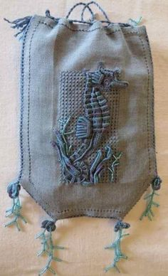 Seahorse Casalguidi Pouch by Shirley Pygott Embroidery Bags, Hardanger Embroidery, Beaded Embroidery, Embroidery Patterns, Embroidered Bird, Drawn Thread, Textile Fiber Art, Brazilian Embroidery, Cutwork