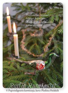 Joululintu kuusessa, Railin Runokortti. joulukortti. Christmas Cards, Christmas Ornaments, Candles, Holiday Decor, Christmas E Cards, Xmas Cards, Christmas Jewelry, Candy, Christmas Letters