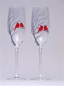953dfb69e906 Hand painted Decoration Wedding Toasting Flutes Set of 2 Personalized Champagne  glasses Red cardinals on branch