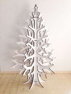 White recycled cardboard laser cut christmas tree holiday decoration 132 cm / 4.3'