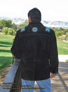 Best Selller! Elvis Style Western Indian  Rich Suede Show Jacket In Black- This fancy handmade Elvis style western jacket is a huge eye catcher. It has an eagle designed with beadwork over the shoulders and down the front of the coat. This coat is all hand made by expert crafts people. It features beadwork on the sleeves, and is trimmed with bone beads on the pockets. Review It Off Of: http://www.indianvillagemall.com/elvisblack.html
