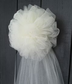 Tulle Half Pom Wedding Pew Bow                                                                                                                                                      More