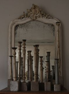 Mirror in vintage . . .what's needed are a few candles & a hanging plant