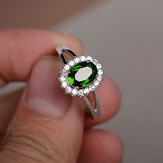 Natural Russian Diopside Ring Emerald Gemstone by KnightJewelry
