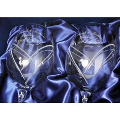 Engraved Swarovski Crystal Heart Wine Glasses  from www.personalisedweddinggifts.co.uk :: ONLY £42.95
