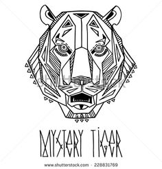Ethnic style tiger's head vector drawing. Isolated outlines