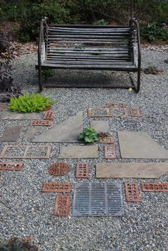 Fun gravel design uses recyclable materials and filters water through soil. by proteamundi - All For Garden Brick Pathway, Brick Paving, Stone Walkway, Garden Paving, Garden Paths, Garden Art, Garden Floor, Mosaic Garden, Garden Landscaping