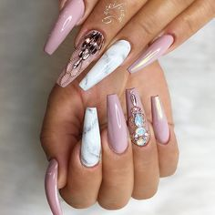 24 Ideas with Long Nails for Different Shapes ★ Long Nails of the Coffin Shape Picture 1 ★ See more: http://glaminati.com/long-nails/ #longnails #naildesign