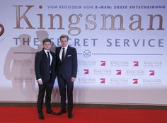 Actors Colin Firth and Taron Egerton arrive for premiere of film 'Kingsman: The Secret Service' in Berlin.