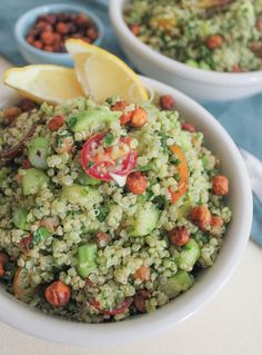 Quinoa Green Goddess Bowl with Crispy Chickpeas and Lemon-Tahini Dressing