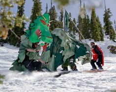 Dragon skiing down. Courtesy Nathan Bilow #costumes