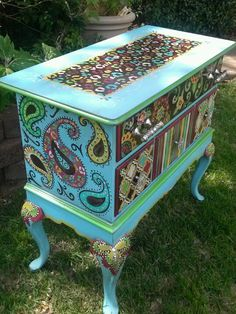 Side view of blingy hand painted furniture by Lezley Lynch Designs.