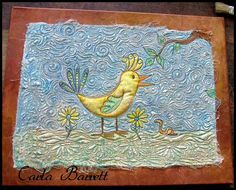 Quilted & painted muslin on a painted canvas. Postcard Size, Painted Canvas, Quilts, Landscape, Rugs, Art Quilting, Beautiful, Postcards, Painted Screens