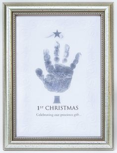 Amazon.com: The Grandparent Gift Frame Wall Decor, Handprint 1st Christmas: Baby