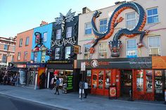 In Camden town you can find the best goth, punk, rock, rockabilly, hippie, vintage etc shops and cheap good food!