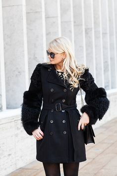 Merrit Beck from The Style Scribe featuring a Burberry fur-sleeved coat!