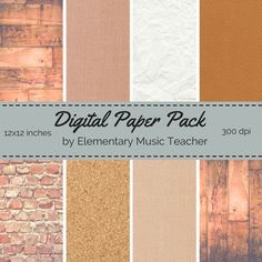 This is a set of 8 digital paper designs! You'll receive:   - Wood (2 - Vertical & Horizontal, to suit your needs) - Crinkled Paper - Cork Board - Brick - Woven Fabric (3 designs & colors)  Perfect for classroom binders, smartboard presentations, bulletin boards and scrapbooking!