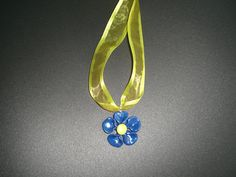 #fimo blue flower #necklace - if you like it write to me at https://www.facebook.com/ChiaraCreazioniInFimo?ref=hl