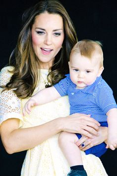 The Duchess with Prince Georgie touring. Mom has her hands full with a healthy and growing lad.