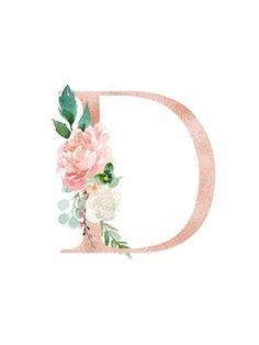 Floral Alphabet - blush / peach color letter D with flowers bouquet composition. Unique collection for wedding invites decoration and many other concept ideas. Flower Letters, Monogram Letters, Molduras Vintage, Monogram Wallpaper, Name Wall Art, Peach Colors, Nursery Art, Paper Flowers, Floral Flowers