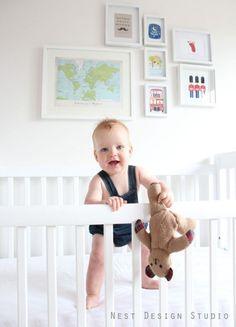 White Nursery Baby Boy - Map Globe Theme