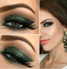 Glitter forest green;Holiday makeup