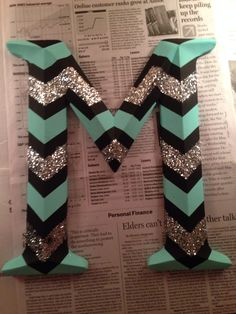 Chevron patterned letter with glitter I painted for my new room!