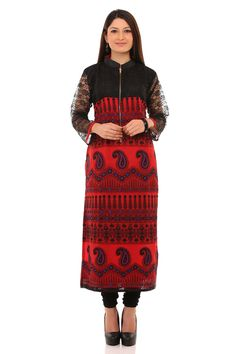 Gear up to attend any evening gathering with this stylish straight knee length kurti in black and red!