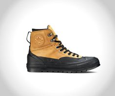 Converse Debuts the Chuck Taylor All Star Tekoa: Brace for winter with the newest winter boot-meets-sneaker from Converse. Converse Shoes, Men's Shoes, Shoe Boots, Galaxy Converse, Custom Converse, Work Sneakers, All Black Sneakers, Converse Winter, Style