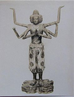 The statue of Ashura, Kofuku-ji Temple, Nara Pref. It is shaped as a figure with three faces and six arms. The National Treasure of Japan.