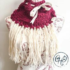 Cowl in Raspberry and cream with decorative ribbon and tassels Winter 2017, Fall Winter, Autumn, Limited Collection, Winter Collection, Alpaca Wool, Hand Crochet, Cowl, Tassels