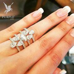 Feel the elegance with this modern diamond ring by via Diamond Bracelets, Diamond Bands, Diamond Jewelry, Gemstone Jewelry, Diamond Life, High Jewelry, Jewelry Box, Jewelry Patterns, Jewelry Branding