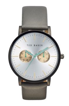 Free shipping and returns on Ted Baker London Multifunction Leather Strap Watch, 40mm at Nordstrom.com.