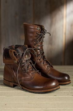 Men's Walk-Over Ian Fold-Over Leather Jump Boots by Overland Sheepskin Co.