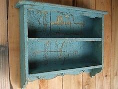 Aged Turquoise blue vintage shabby chic distressed handmade wall shelf old look