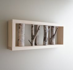 Items similar to natural white birch forest wall art - birch branch, birch log, wall hanging, modern rustic wall decor, framed birch art on Etsy Log Decor, Rustic Wall Decor, Rustic Walls, Woodsy Decor, Birch Logs, Birch Branches, Cool Woodworking Projects, Diy Wood Projects, Frame Wall Decor