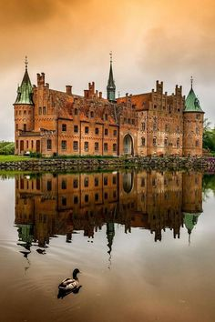 "Egeskov Castle, Denmark. Kværndrup, It is Europe""s best preserved Renaissance water castle with a history dating to the 14th century. The castle was built in 1554. Due to the troubles caused by the civil war known as the Count""s Feud, and a civil war most Danish noblemen built their homes as fortifications. The castle is constructed on oaken piles and located in a small lake with a maximum depth of 5 m. Originally, the only access was by means of a drawbridge."