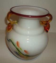 Vase Studio Artist Blown Glass Double Handled 48