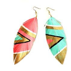 Neon Aztec - 4.5 inch - Faux Leather Feather Earrings - Electric Pink and Blue - FREE SHIP via Etsy
