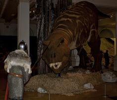 Beowulf and the dragon (Saxon Warrior and T.Rex). Taken at the T.Rex - the Killer Question exhibition.
