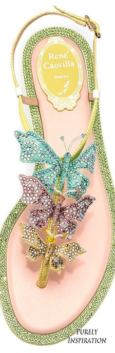 Rene Caovilla Crystal Embellished Butterfly Flat Thong Sandals | Purely Inspiration