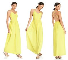 This Yellow Backless Maxi Dress features a defined waist and cutout sides that give it extra glam.