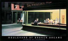 Boulevard of Broken Dreams by Gottfried Helnwein, featuring Marilyn Monroe, Humphrey Bogart, James Dean, and Elvis Presley.