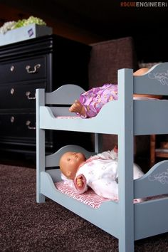 18in Doll Bunk Beds- Free & Easy Plans | rogueengineer.com #18inDollBunkBeds #BabyChildDIYplans